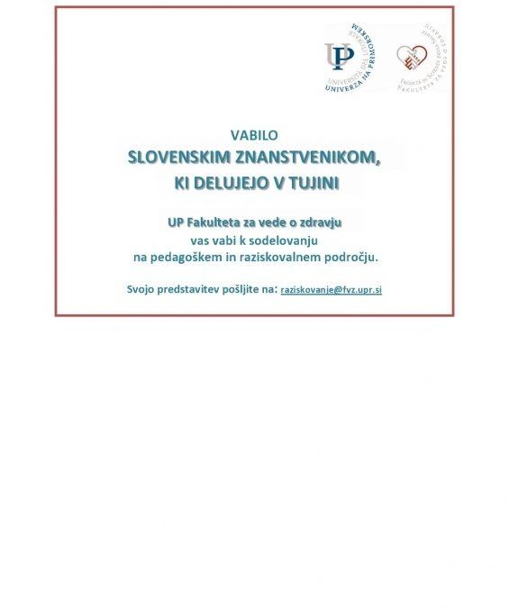 Vabilo slovenskim znanstvenikom v tujini