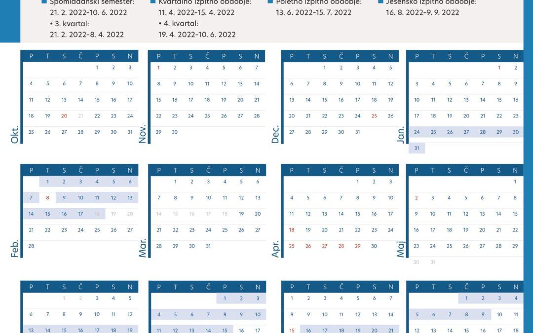Prenesite si brezplačen UP študijski koledar 2021/2022